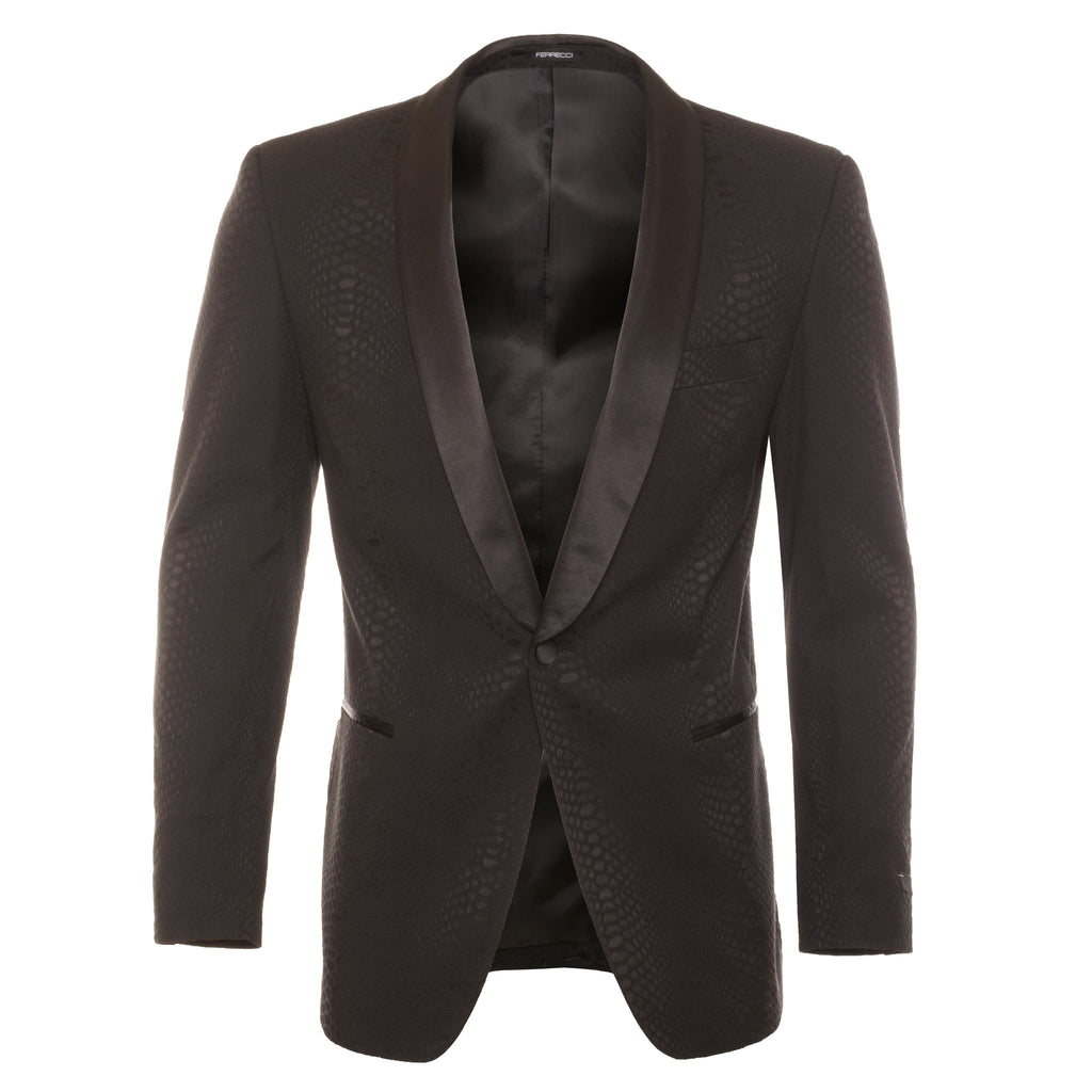 Ash All Black Snake Skin Tuxedo Blazer - FHYINC best men