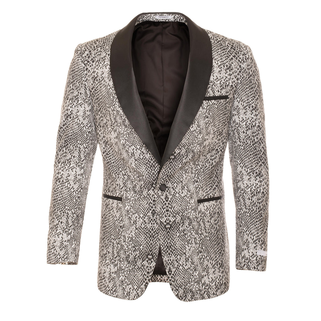 Ash Black and White Snake Skin Tuxedo Blazer - FHYINC best men