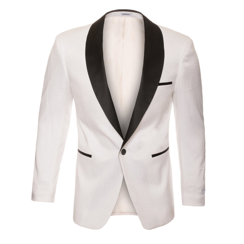 Ash All White Snake Skin Tuxedo Blazer - FHYINC best men