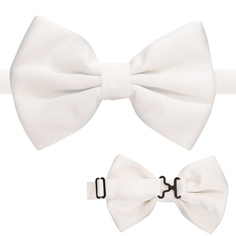 Axis White Adjustable Satin Bowtie