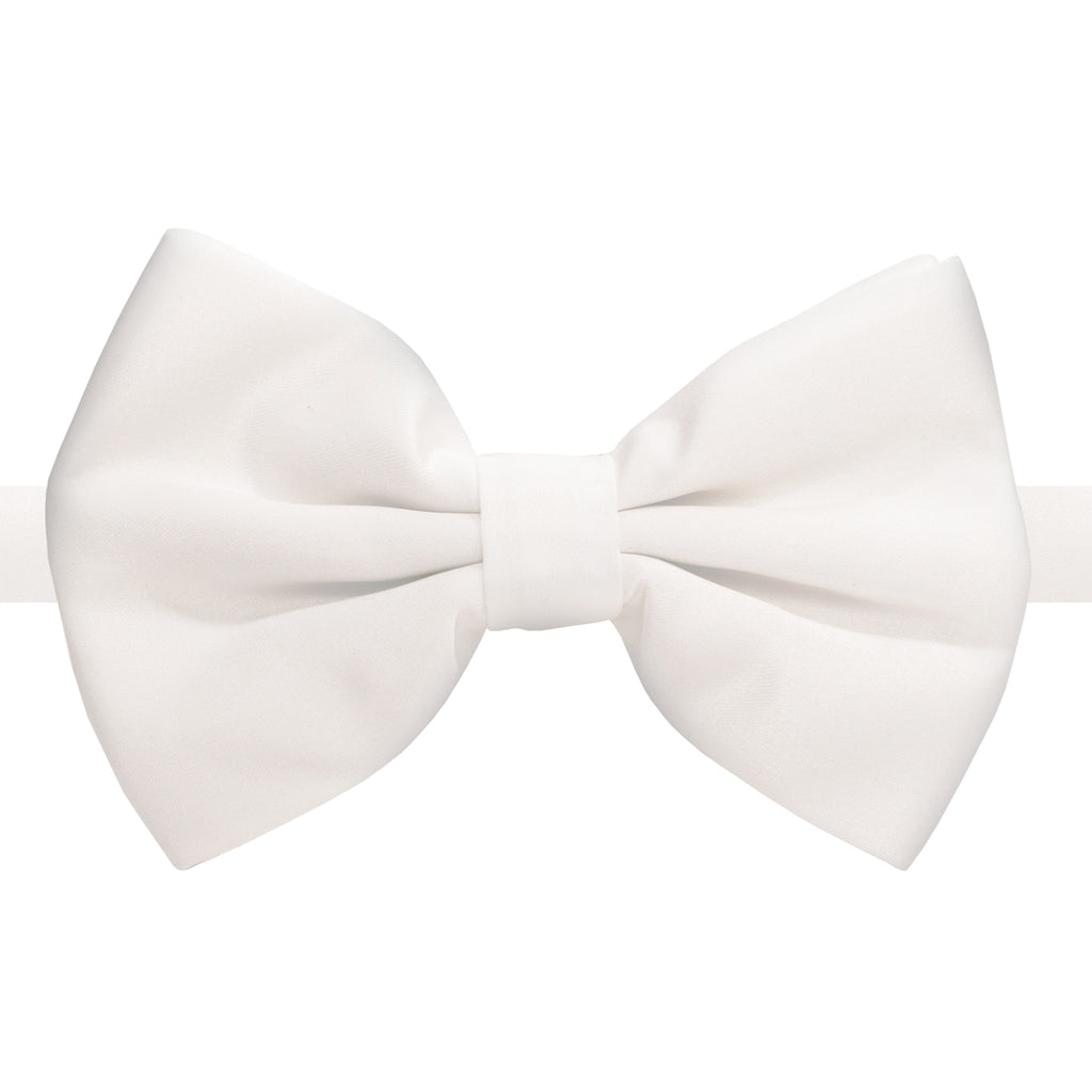 Axis White Adjustable Satin Bowtie - FHYINC best men