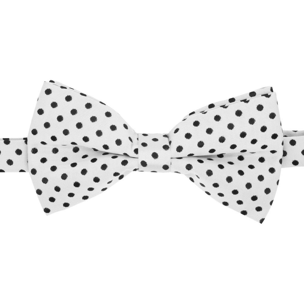 Ferrecci Mens Turner White and Black Polkadot Bow Tie