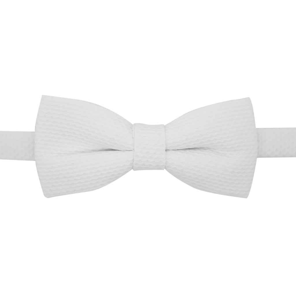 Ferrecci Mens Premium Adjustable White Cotton Bowtie