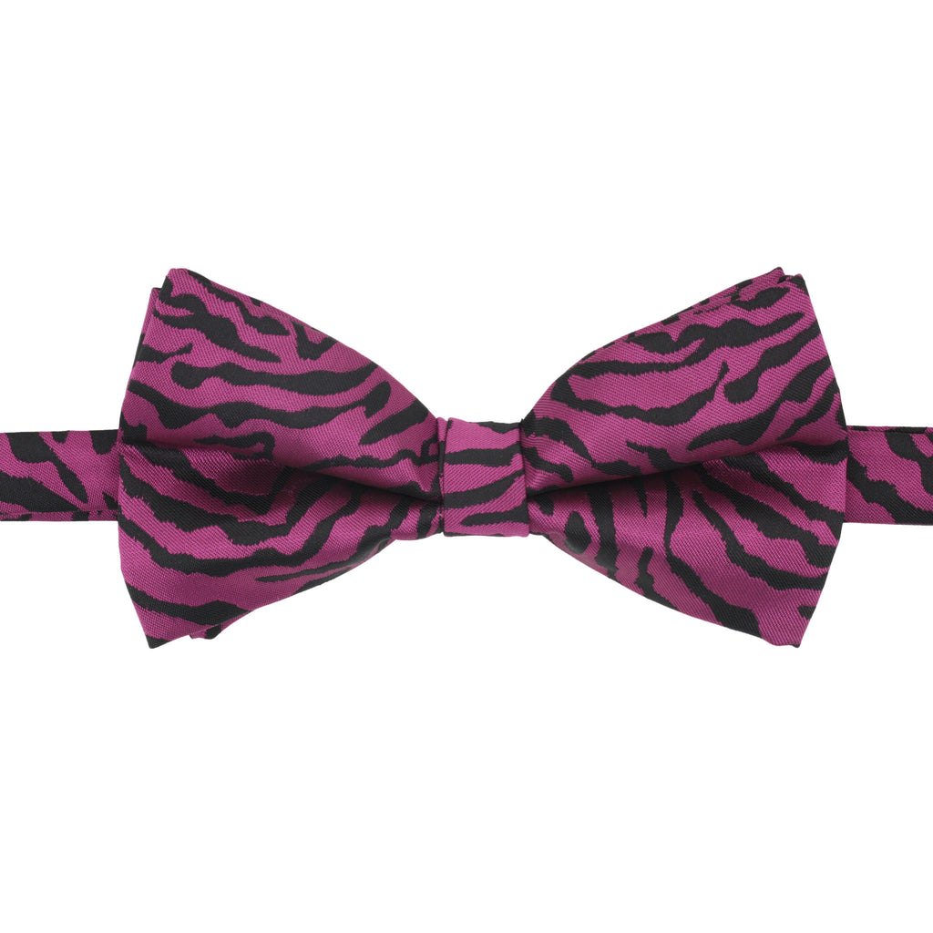 Ferrecci Mens Zimba Purple Black Zebra Bow Tie
