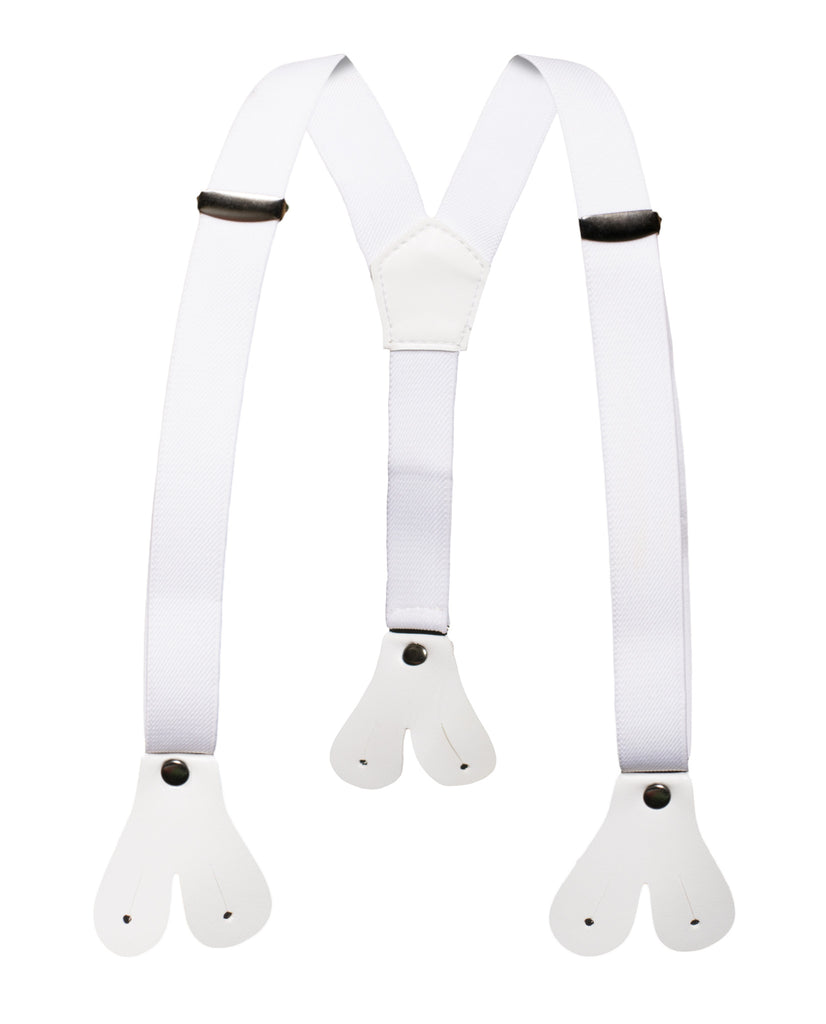Boys White Button End Suspenders - FHYINC best men
