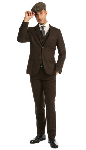 Bradford Cognac Slim Fit 3pc Tweed Suit