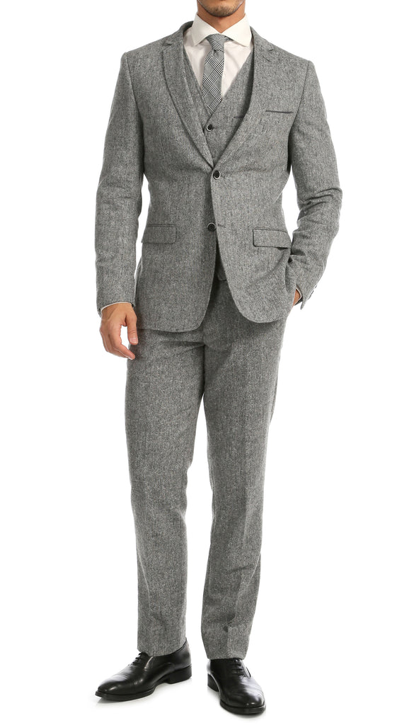Bradford Grey Slim Fit 3pc Tweed Suit - FHYINC