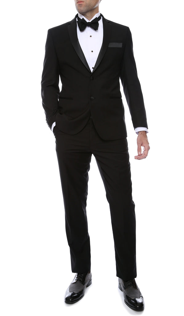 Bronson Black Slim Fit Notch Lapel Tuxedo - FHYINC best men