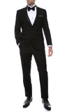 Bronson Black Slim Fit Notch Lapel Tuxedo - FHYINC best men's suits, tuxedos, formal men's wear wholesale