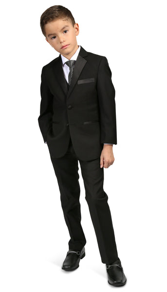 Ferrecci Boys Bronson Jr Black 5 Piece Notch Lapel Tuxedo Set - FHYINC best men's suits, tuxedos, formal men's wear wholesale