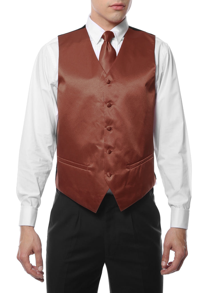 Ferrecci Mens Brown Satin 4pc Vest Set - FHYINC best men's suits, tuxedos, formal men's wear wholesale