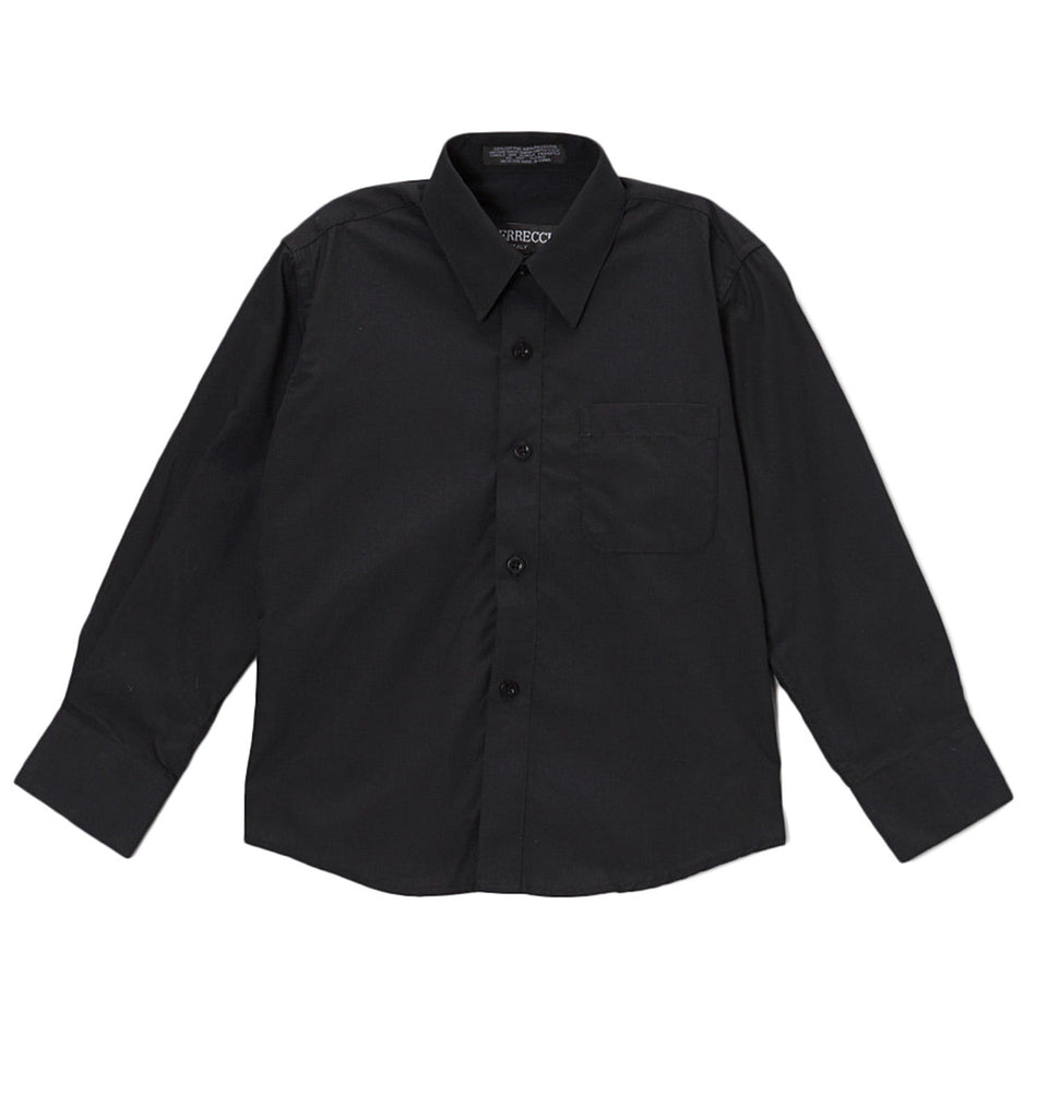 Ferrecci Boys Cotton Blend Black Dress Shirt - FHYINC best men