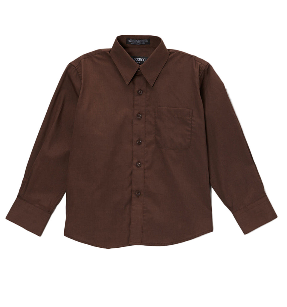 Ferrecci Boys Cotton Blend Brown Dress Shirt - FHYINC best men
