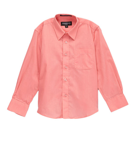Ferrecci Boys Cotton Blend Coral Dress Shirt