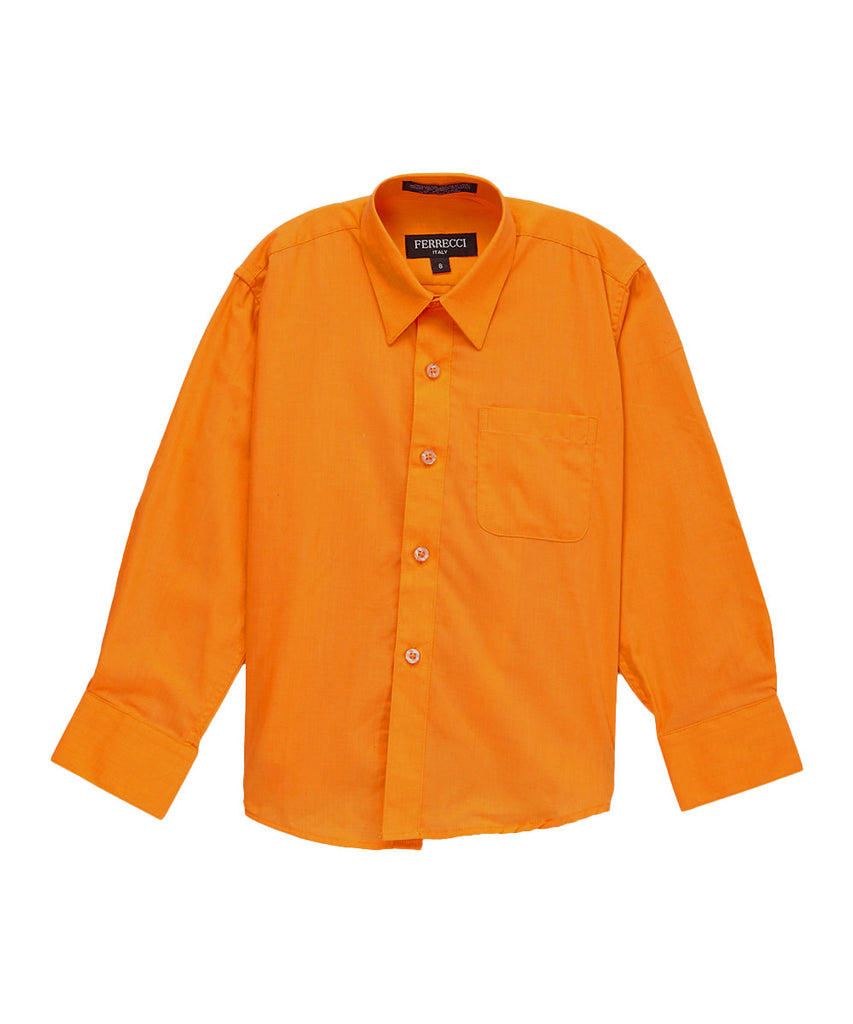 Ferrecci Boys Cotton Blend Orange Dress Shirt - FHYINC best men