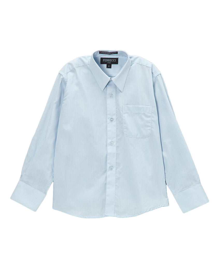 Boys Premium Cotton Blend Light Colored Dress Shirts - FHYINC best men