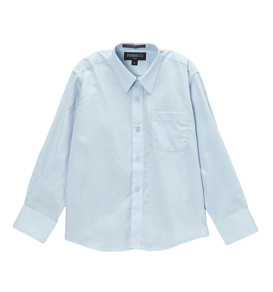Ferrecci Boys Cotton Blend Light Blue Dress Shirt - FHYINC best men