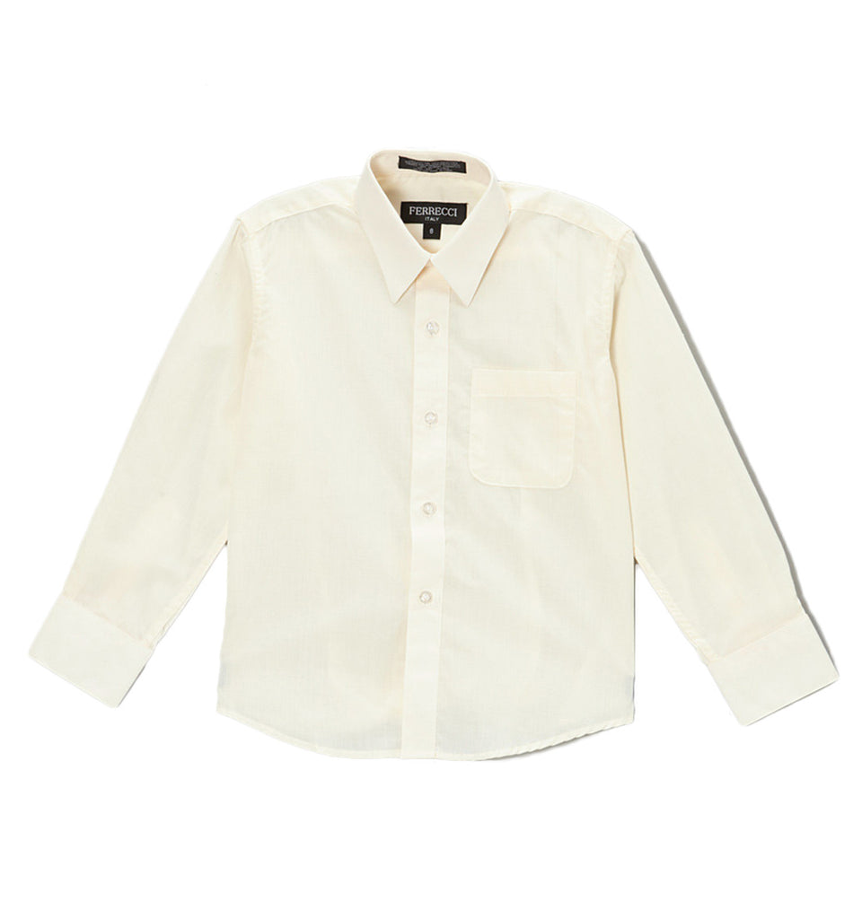 Ferrecci Boys Cotton Blend Off White Dress Shirt - FHYINC best men