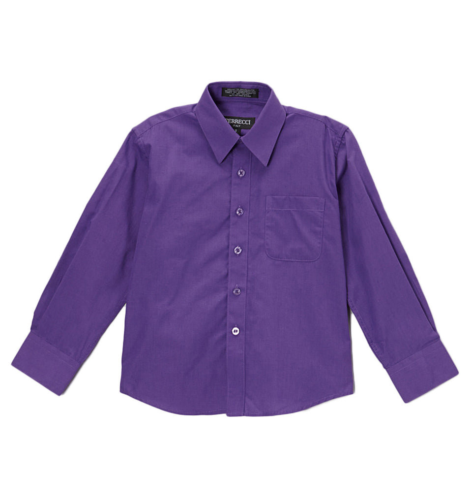Ferrecci Boys Cotton Blend Purple Dress Shirt - FHYINC best men