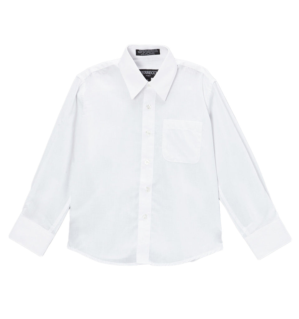 Ferrecci Boys Cotton Blend White Dress Shirt - FHYINC best men's suits, tuxedos, formal men's wear wholesale