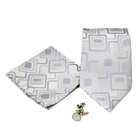 Men's Grey Rounded Square Geometric Pattern Design 4-pc Necktie Box Set