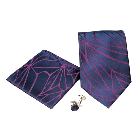 Men's Pink Geometric Pattern Design 4-pc Necktie Box Set