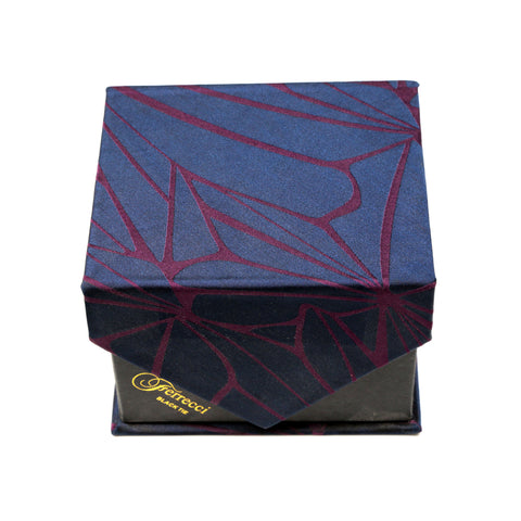 Men's Navy Burgundy Geometric Pattern Design 4-pc Necktie Box Set