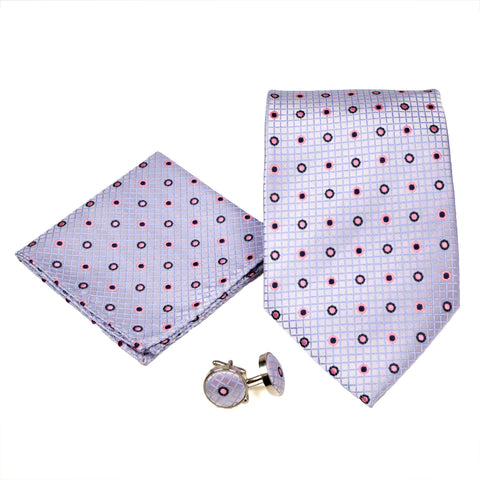 Men's Purple Geometric Grid Pattern Design 4-pc Necktie Box Set