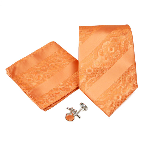 Men's Orange-Orange Striped Floral Pattern Design 4-pc Necktie Box Set