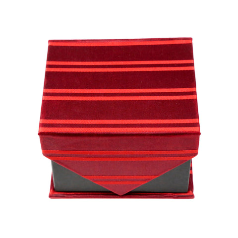 Men's Red-Red Horizontal Striped Pattern Design 4-pc Necktie Box Set