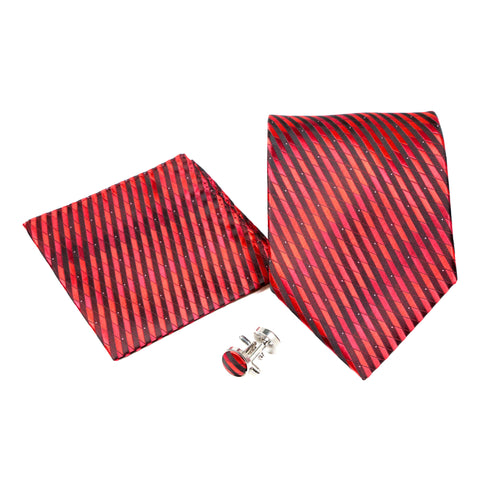 Men's Red-Black Geometric Pattern Design 4-pc Necktie Box Set
