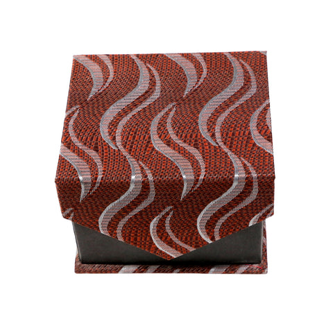 Men's Brown Wavy Geometric Pattern Design 4-pc Necktie Box Set