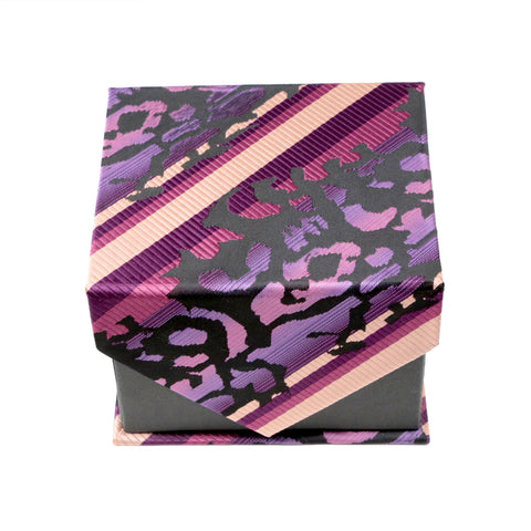 Men's Purple/Pink/Black Organic Pattern Design 4-pc Necktie Box Set