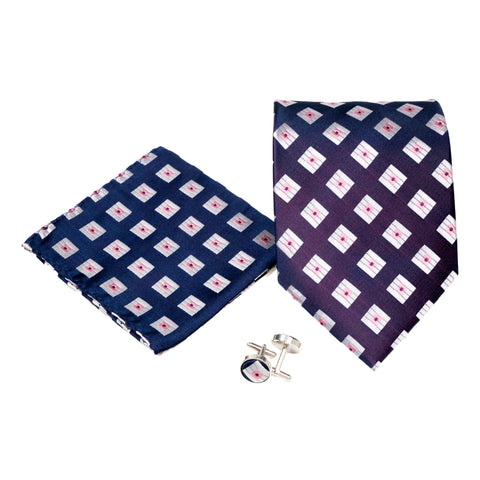 Men's Purple Boxy Geometric Pattern Design 4-pc Necktie Box Set