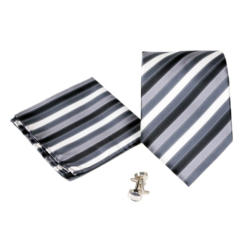 Men's Black-White Striped Pattern Design 4-pc Necktie Box Set