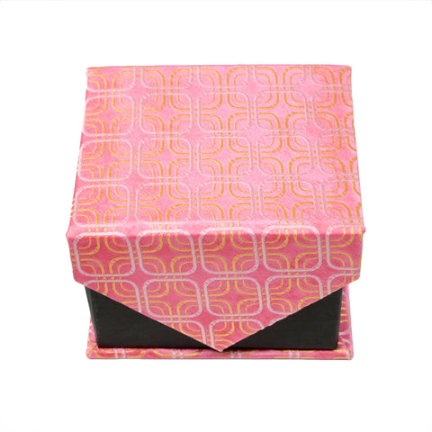 Men's Pink/Pink Rounded Square Geometric Pattern Design 4-pc Necktie Box Set