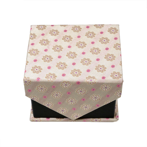 Men's Beige/Pink Floral Grid Geometric Pattern Design 4-pc Necktie Box Set