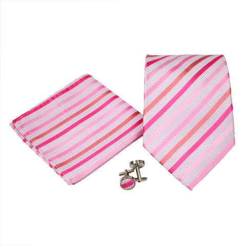 Men's Pink/White Striped Geometric Pattern Design 4-pc Necktie Box Set