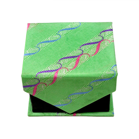 Men's Green-Red Wavy Striped Pattern Design 4-pc Necktie Box Set