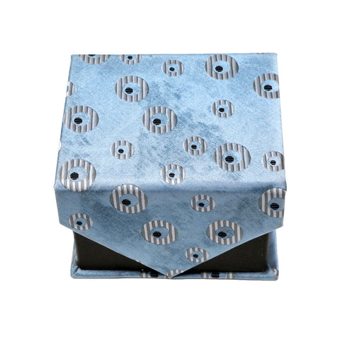 Men's Blue Geometric Pattern Design 4-pc Necktie Box Set