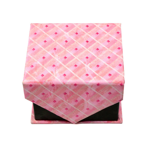 Men's Pink Squared Geometric Pattern Design 4-pc Necktie Box Set
