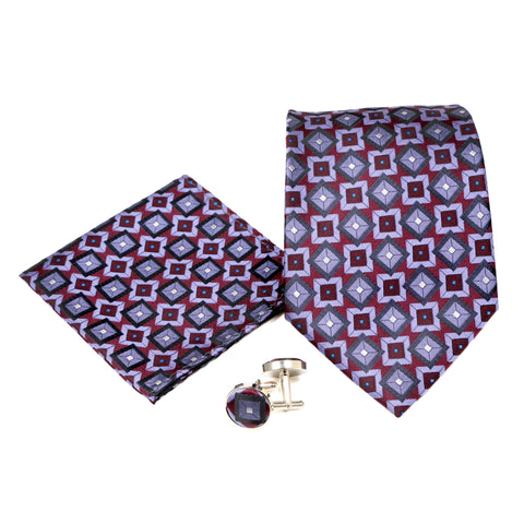 Men's Purple Squared Pattern Design 4-pc Necktie Box Set