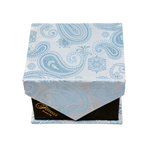 Men's Light Blue Paisley Geometric Pattern Design 4-pc Necktie Box Set