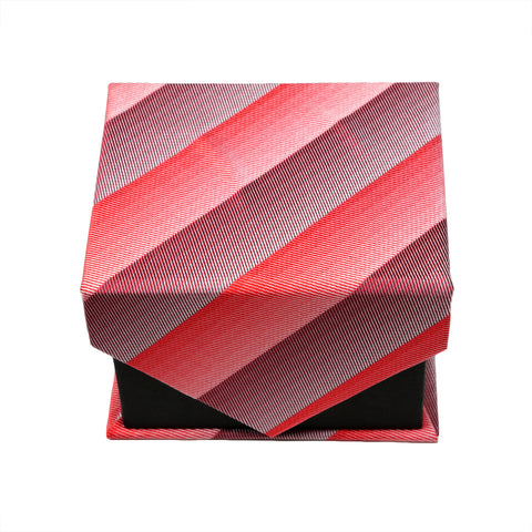 Men's Red Striped Geometric Pattern Design 4-pc Necktie Box Set