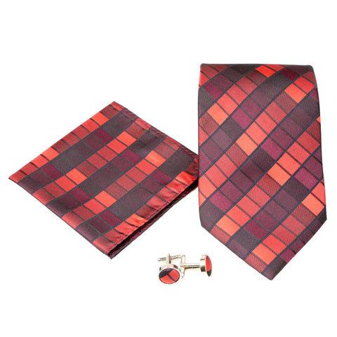 Men's Red/Black Square Geometric Pattern Design 4-pc Necktie Box Set