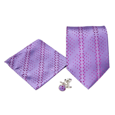 Men's Purple Striped Geometric Pattern Design 4-pc Necktie Box Set