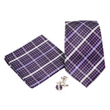 Men's Purple/Black Plaid Geometric Pattern Design 4-pc Necktie Box Set - FHYINC best men's suits, tuxedos, formal men's wear wholesale