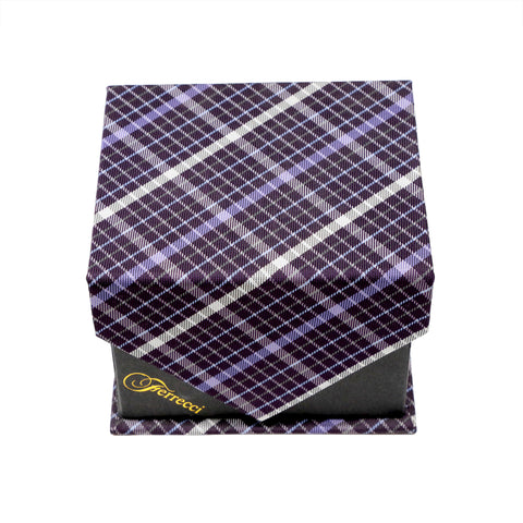 Men's Purple/Black Plaid Geometric Pattern Design 4-pc Necktie Box Set