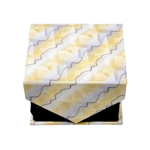 Men's Yellow Geometric Pattern Design 4-pc Necktie Box Set