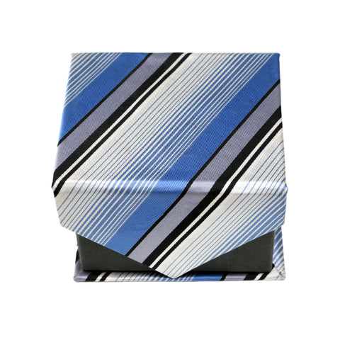 Men's Blue-Black Stripe Pattern Design 4-pc Necktie Box Set
